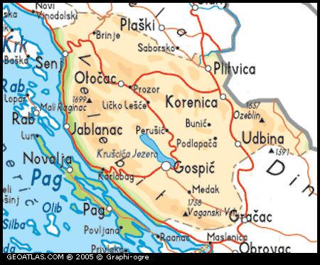 Region LIKA mapa
